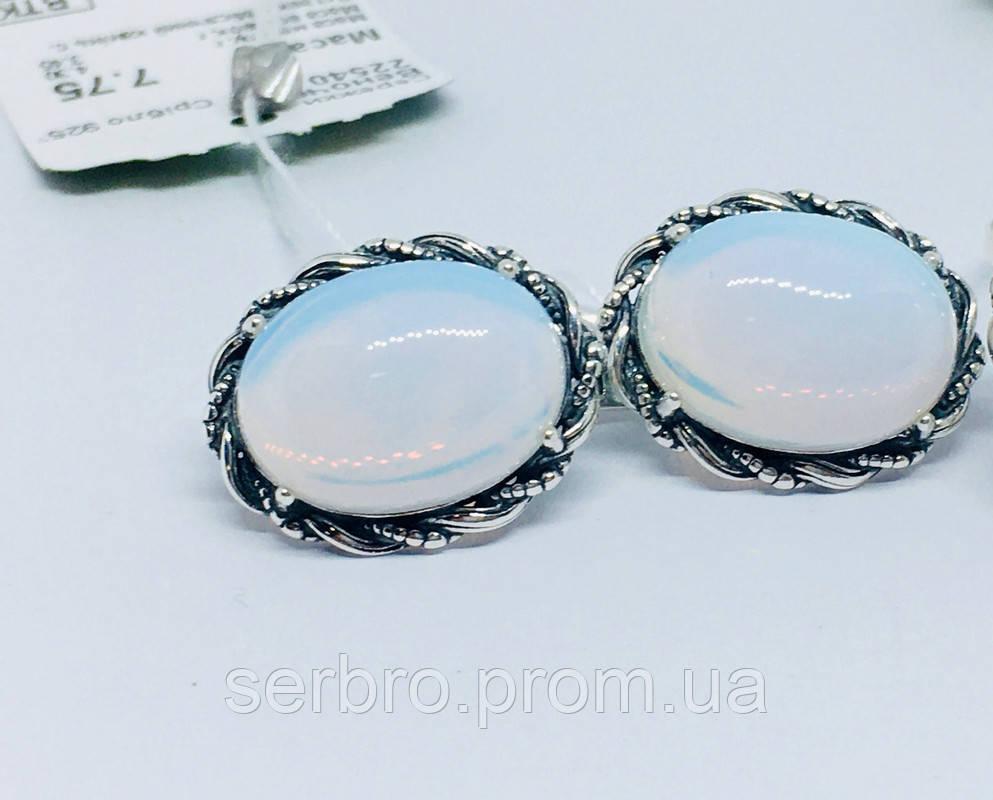 Срібні сережки з місячним каменем Віночок