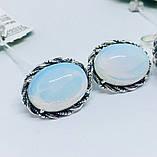 Срібні сережки з місячним каменем Віночок, фото 2