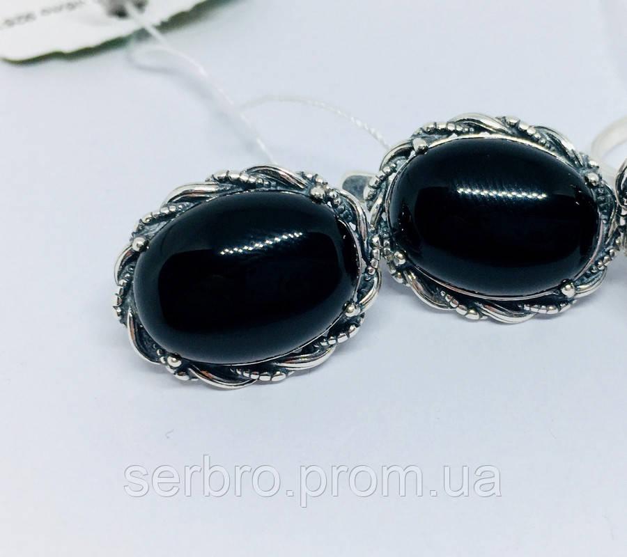 Серебряные сережки с ониксом Веночек