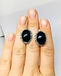 Серебряные сережки с ониксом Веночек, фото 4