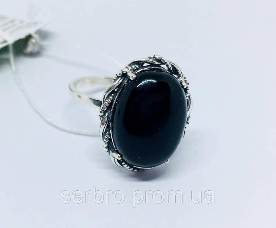 Кольцо в серебре с ониксом Веночек
