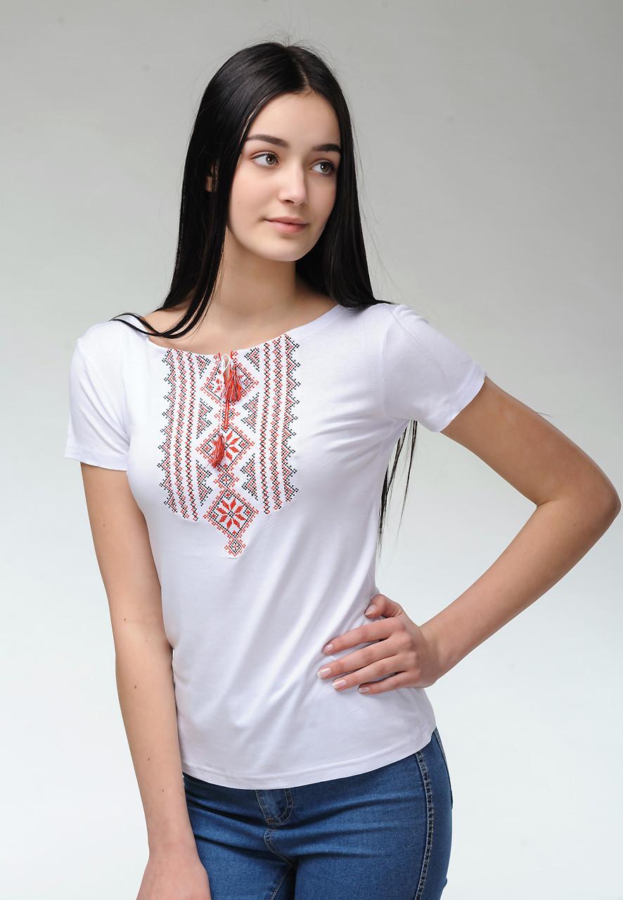 Женская футболка с вышивкой на короткий рукав в белом цвете «Гуцулка (красная вышивка)»