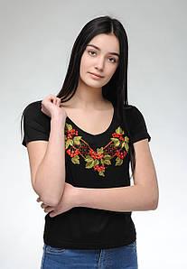 Женская черная вышитая футболка на праздник с V-образной горловиной «Калина»