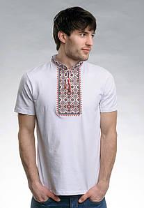 Мужская футболка белого цвета с коротким рукавом «Звездное сияние (красная вышивка)»