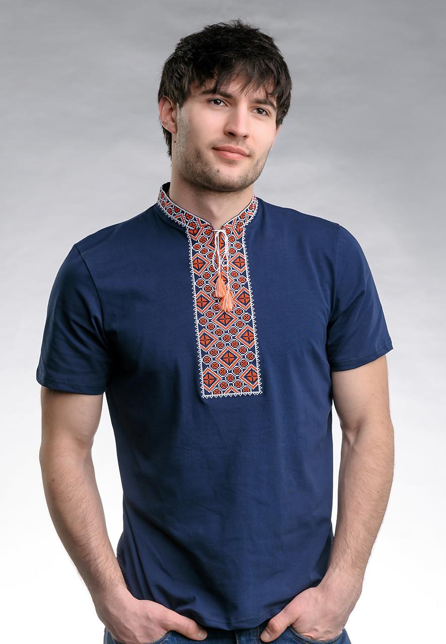 Мужская футболка с вышивкой с коротким рукавом «Казацкая (красная вышивка)»