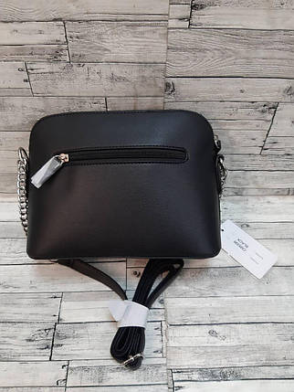 Стильная женская сумка черного цвета с цепочками на ремне 22*17 см, фото 2