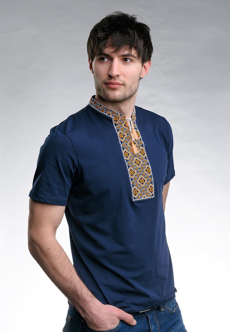 Мужская футболка темно-синего цвета с вышивкой «Казацкая (золотая вышивка)»