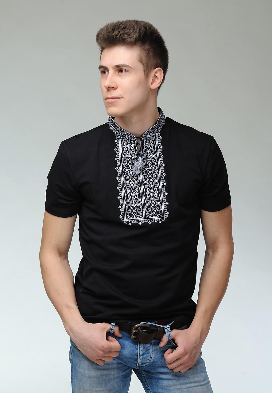 Чоловіча вишита футболка чорного кольору з геометричним орнаментом «Король Данило (сіра вишивка)»