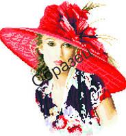 """Схема для вышивки нитками """"Девушка в шляпе"""""""