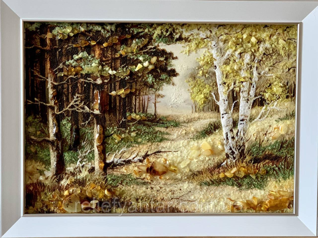"""Картина пейзаж из янтаря """" Красивый лес"""" 30x40 см"""
