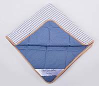 Одеяло детское из шерсти мериносов облегченное Lite Синее полоска 140х100, фото 1