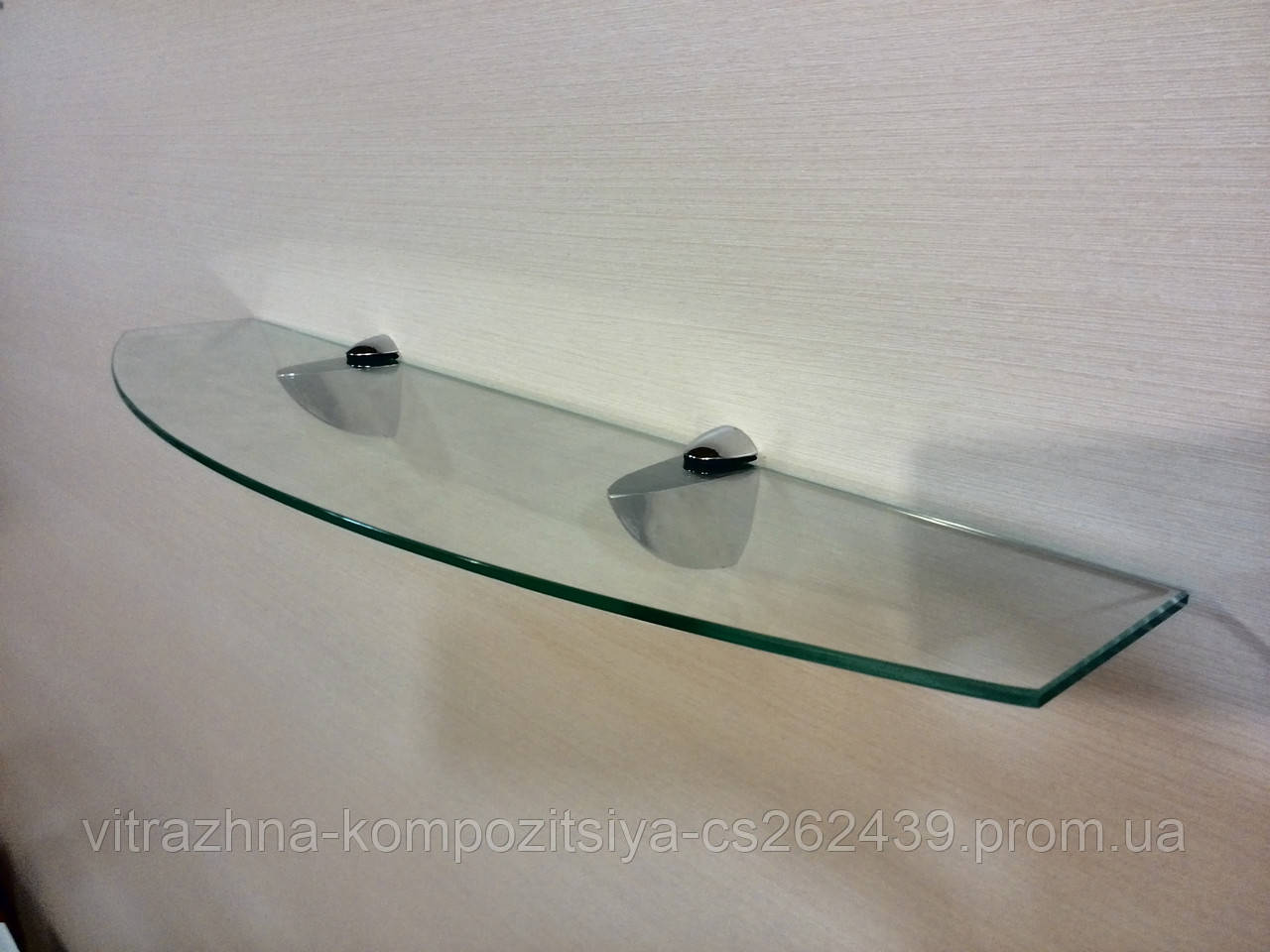 Полка стеклянная фигурная 4 мм прозрачная 50 х 12 см
