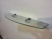 Полка стеклянная фигурная 4 мм прозрачная 50 х 12 см, фото 1