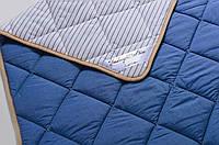Одеяло из шерсти мериносов облегченное Lite Синее полоска 140х200, фото 1