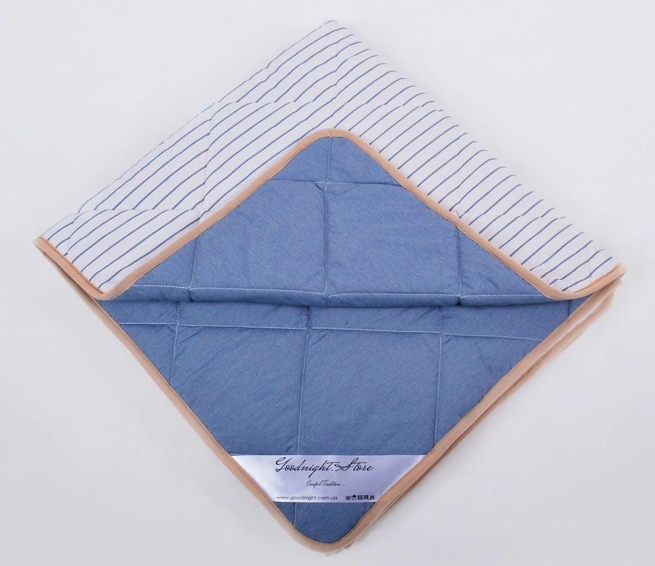 Одеяло из шерсти мериносов  облегченное Lite Синее полоска 220х200