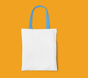 Пляжная сумка/Промо сумка (габардин) для сублимации с голубой ручкой