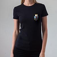Женская черная футболка, карман с рыбой-котом