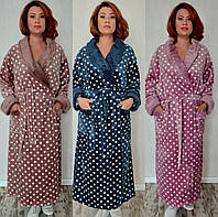 Женский тёплый халат очень больших размеров до 180