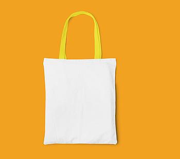 Пляжная сумка/Промо сумка (габардин) для сублимации с желтой ручкой