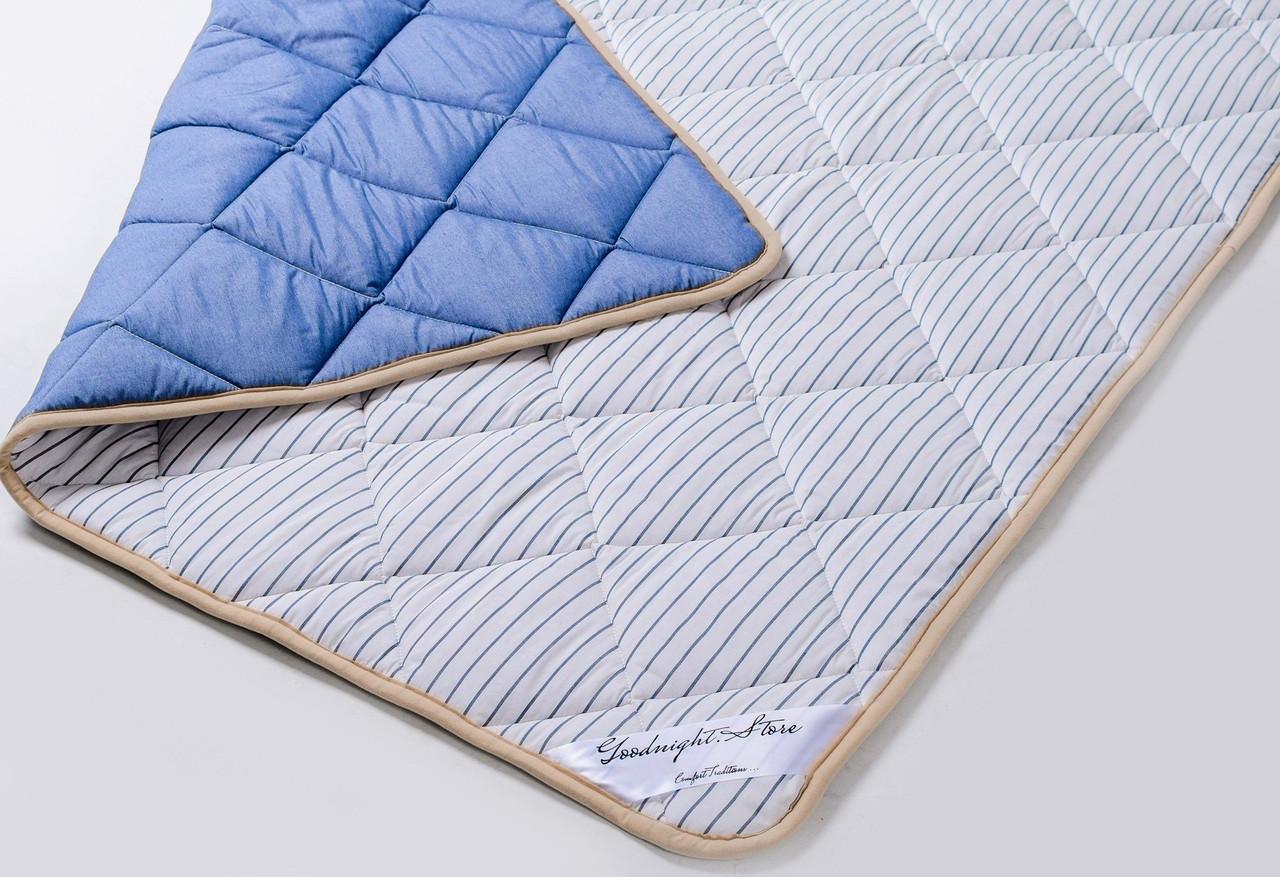 Одеяло из шерсти мериносов легкое Ultra Lite Синее полоска 180х200