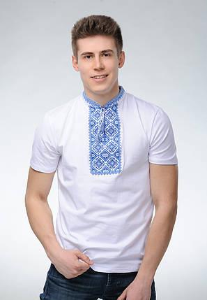 Мужская футболка с вышивкой в украинском стиле «Атаманская (синяя вышивка)», фото 2
