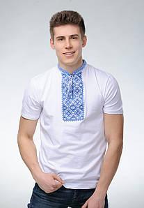 Мужская футболка с вышивкой в украинском стиле «Атаманская (синяя вышивка)»
