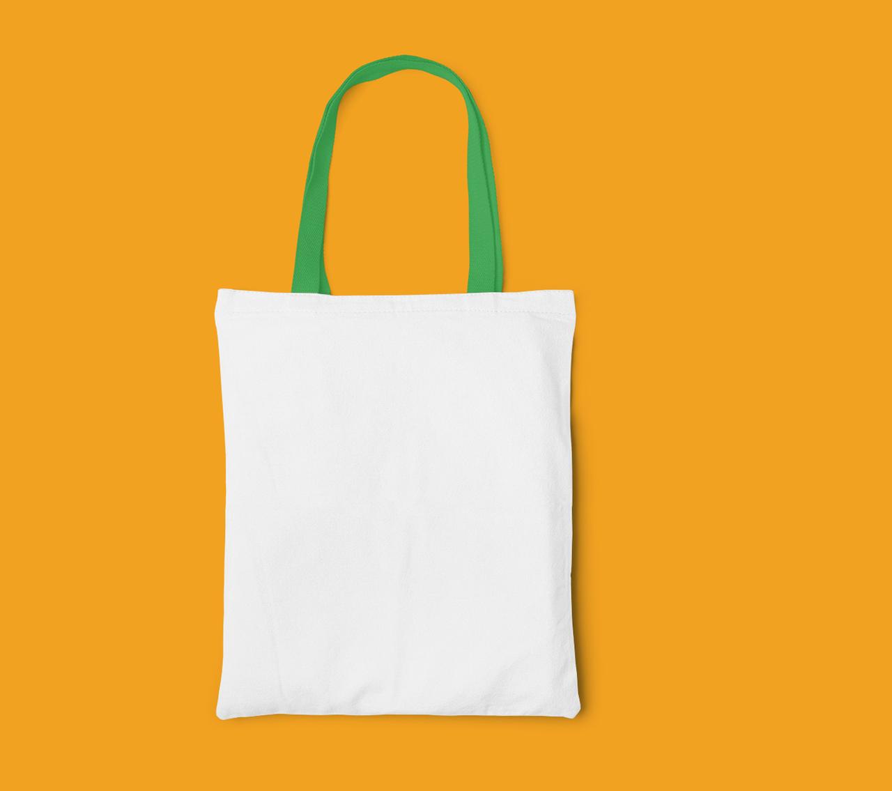 Пляжна сумка/Промо сумка (габардин) для сублімації з зеленою ручкою