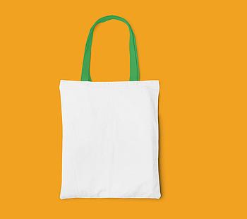 Пляжная сумка/Промо сумка (габардин) для сублимации с зеленой ручкой