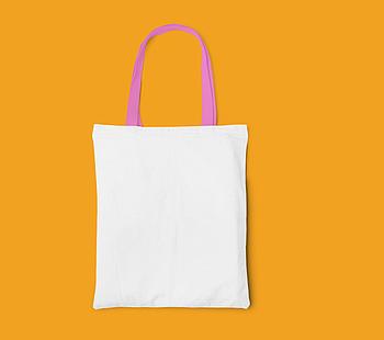 Пляжная сумка/Промо сумка (габардин) для сублимации с розовой ручкой