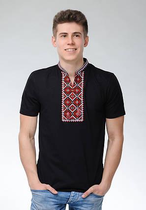 Мужская футболка с коротким рукавом черного цвета машинной вышивки «Атаманская», фото 2