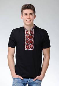 Мужская футболка с коротким рукавом черного цвета машинной вышивки «Атаманская»