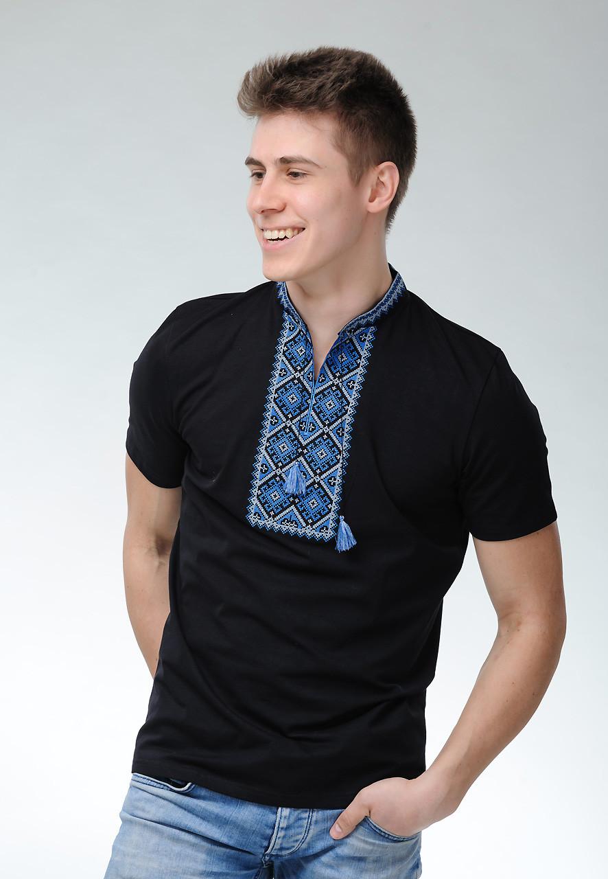 Мужская черная вышитая футболка в молодежном стиле «Атаманская (синяя вышивка)»