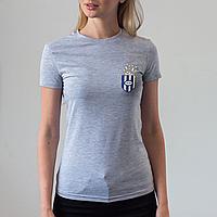 Женская серая футболка, карман с попкорном