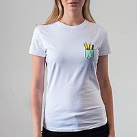 Женская белая футболка, карман с ручками