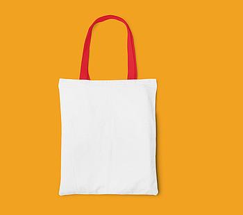 Пляжная сумка/Промо сумка (габардин) для сублимации с красной ручкой