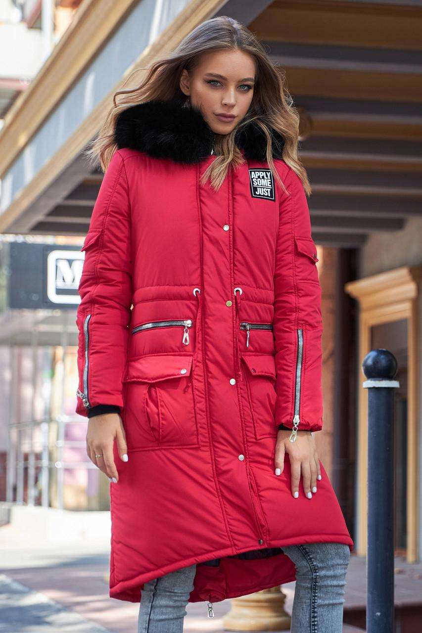 Куртка зимова жіноча з капюшоном з хутром червона