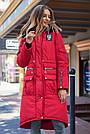 Куртка зимова жіноча з капюшоном з хутром червона, фото 2