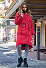 Куртка зимова жіноча з капюшоном з хутром червона, фото 3