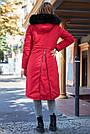 Куртка зимова жіноча з капюшоном з хутром червона, фото 6