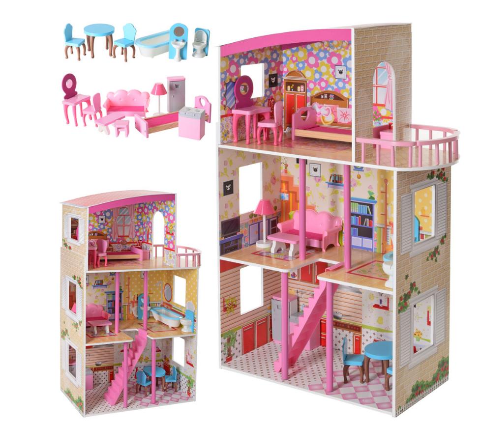 Деревянный домик для кукол Bambi MD 2411 три этажа и мебель