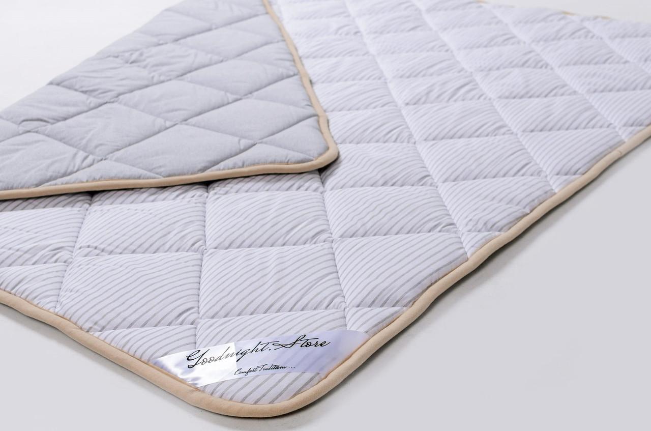 Одеяло из шерсти мериносов облегченное Lite Серое полоска 160х200