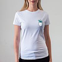 Женская белая футболка, карман с совой, фото 1