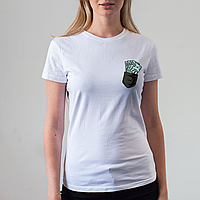 Женская белая футболка, карман с деньгами