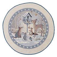 """Салфетка круглая под тарелку  """"Лесная сказка"""", люрекс, 30 см, фото 1"""