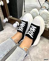 Женские кроссовки на шнуровке замша+кожа  36-40 р чёрный+белый, фото 1