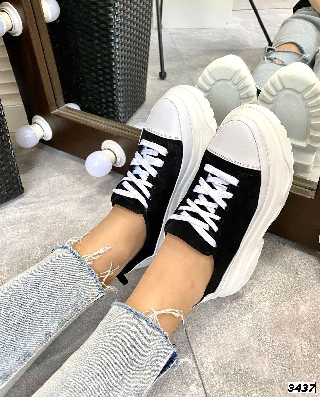 Женские кроссовки на шнуровке замша+кожа  36-40 р чёрный+белый