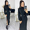 Длинное женское платье черное с разрезами из ангоры ЕФ/-12589