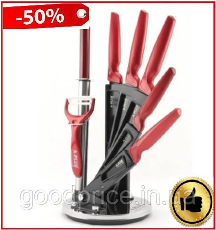 Набор ножей А-Плюс 8 предметов с вращающейся подставкой Красный