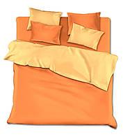 Двуспальный с евро простынью однотонный комплект (оранж)