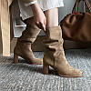 Youmaidi 2020 осенне-зимние новые ботинки на толстом каблуке с высоким каблуком, складные сапоги, ботинки средней длины, модная женская обувь, размер